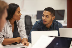 Two University Students Collaborating On Project Royalty Free Stock Photos