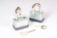 Two unlocked padlocks with keys Royalty Free Stock Photography