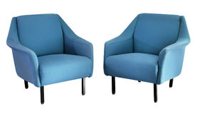 Two upholstered blue fifties armchairs Stock Images
