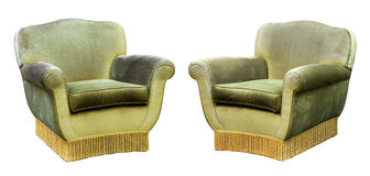 Two upholstered green velvet armchairs Stock Images