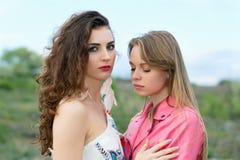 Two upset women royalty free stock image