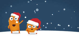 Two Upsies characters dancing crazy funny Christmas dance. In snowy night. Greeting card with space for text Stock Image