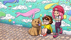 Two urban girls and a chow chow dog in front of a graffiti wall - painted version. Digital watercolor illustration of two urban girls and a chow chow dog hanging Stock Photo