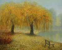 Only The Two of Us. An oil painting on canvas of a couple of weeping willows in the park near a lake in an early misty autumn morning, surviving many years Stock Photography