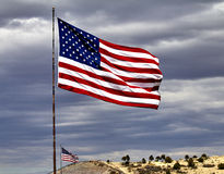 Two US Flags Flying Royalty Free Stock Photo