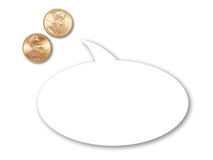Two US pennies with cartoon speech balloon Stock Image