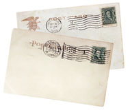 Two US Postcards, 1908. Two old postcards printed in USA with ancient postage stamps shows image portrait of Benjamin Franklin. Circa 1908 Royalty Free Stock Photos