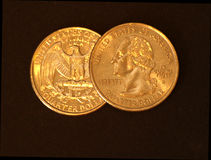Two US Quarters Royalty Free Stock Photos