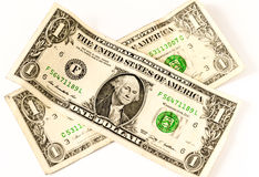 Two usa dollars in a cross shape Stock Image