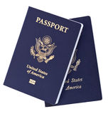 Isolated American Passports. Two USA passports isolated on white background. The one on the left is the new version of the passport, with the biometric chip; the Stock Photography