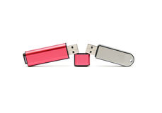 Two USB flash drive. On a white background Stock Photos