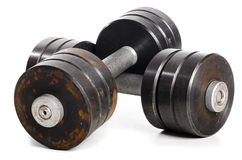 Two used metal barbells Royalty Free Stock Photos