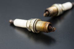 Two used sparkplug Royalty Free Stock Photos