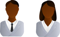 Two users icon - african man and woman. Two vector users icon - african man and woman Royalty Free Stock Images
