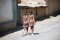 Two Uzbek street stock image