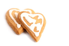 Two valentine cookies Royalty Free Stock Images