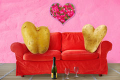 Two Valentine couch potatoes Stock Photos