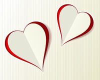 Two Valentine Love hearts paper cut style Stock Image