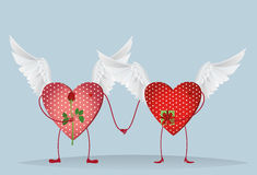 Two Valentine Ornamental heart with wings and feets are kept. In hand. A bouquet of flowers and a box with a bow and ribbon. Send a gift to each other on Royalty Free Stock Photos