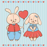 Two valentine rabbit in love. Valentine background with Rabbits Stock Photo