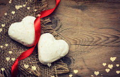 Two Valentine's Day gingerbread heart shape Royalty Free Stock Photography