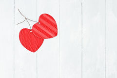 Two Valentine's Day Paper Hearts Stock Photos