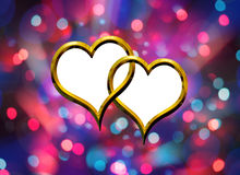 Two Valentine's golden heart Stock Photos