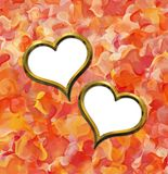 Two Valentine's golden hearts Royalty Free Stock Photography