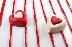 Two Valentines Day hearts Stock Image