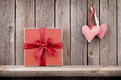 Two Valentines day hearts and gift box Royalty Free Stock Photography