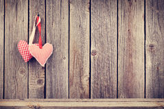 Two Valentines Day Hearts On Rustic Wooden Wall Royalty Free Stock Photography