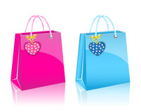 Two Valentines day rore paper shopping bag Stock Image
