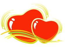 Two valentines hearts Royalty Free Stock Images