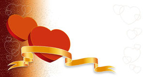 Two Valentines hearts. On red-white background Stock Photos