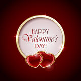 Two Valentines hearts and round banner Royalty Free Stock Photos