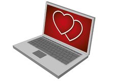 Laptop display showing valentines hearts Royalty Free Stock Images