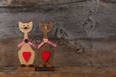 Two Valentines Love Wooden Cat Shapes With Red Heart Decoration Stock Photos