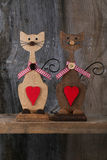 Two Valentines Love Wooden Cat Shapes With Red Heart Decoration Stock Photography