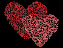 Valentines made of gears. Two valentines made of gears Royalty Free Stock Image