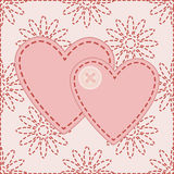 Valentines sewed with button. Two valentines sewed with button  illustration Royalty Free Stock Photography