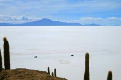 Two van running on the pure white Salar de Uyuni, world`s largest salt flats view from Isla Incahuasi rock formation, Bolivia stock photography