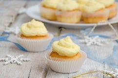 Two vanilla Christmas cupcakes Royalty Free Stock Image