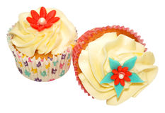 Two Vanilla Cupcakes Stock Photography