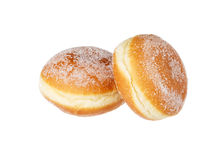 Two vanilla donuts Stock Images