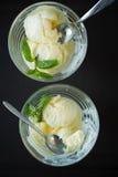 Two of vanilla ice cream, top view Stock Photos