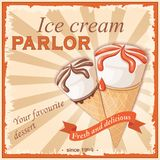 Two vanilla ice creams in the vintage parlor. Vintage banner with two realistic waffle cone ice creams. Ice cream parlor letters and ribbon with text fresh and Stock Photography