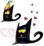 Two variant of black cat cartoon Stock Photos
