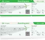 Two variants of airline boarding pass tickets. On white background. Green colors. Vector illustration Royalty Free Stock Images