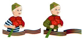 Two variants of a boy with carnations for the Victory Day illustrations isolated elements. Two variants of boy with carnations for the Victory Day illustrations Royalty Free Stock Photography