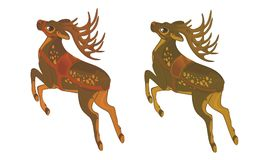 Two variants of galloping reindeer on white background stock illustration